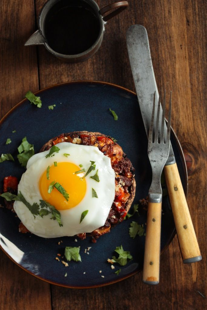 Chorizo Hash Stuffed Breakfast Mushrooms with Egg | Country Cleaver