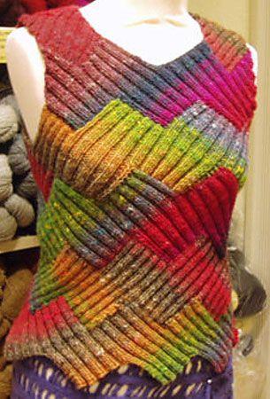 Лоскутное вязание, пэчворк на вязальной машине, энтерлак