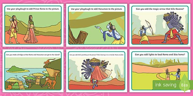 Laminate these playdough mats for a fun and creative way to learn about the story of Rama and Sita. Each mat features a different topic related illustration, use playdough to follow the instructions and complete the images.