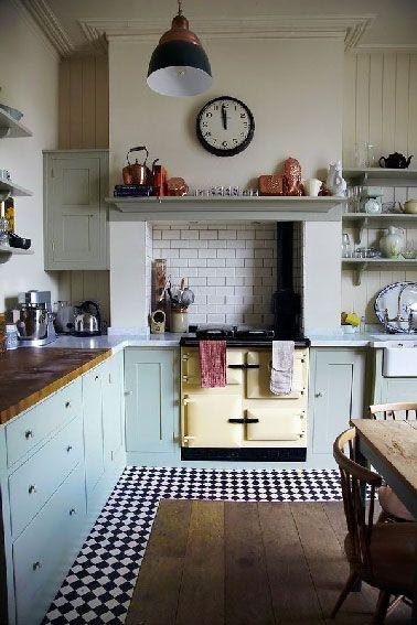 Fourneau vintage et accessoires cuivre dans la cuisine de grand-mère