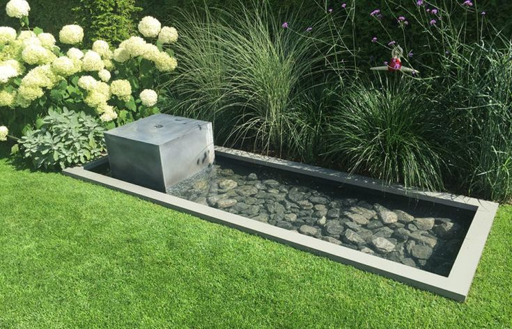 Teich im Bett mit Springbrunnen aus Zink Garten_Brunnen Design schöne Idee mit …   – garten