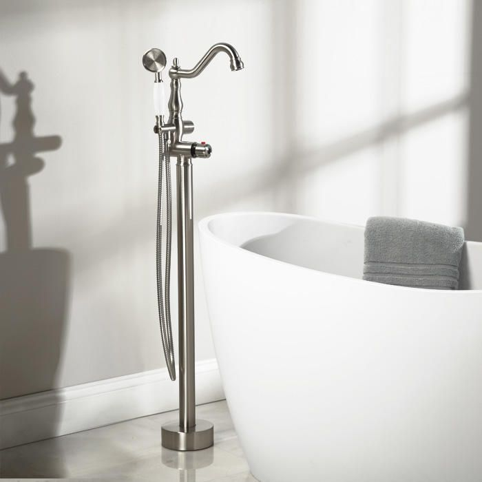 Ghani Freestanding Tub Faucet and Hand Shower - Freestanding Tub Fillers - Tub Faucets - Bathroom