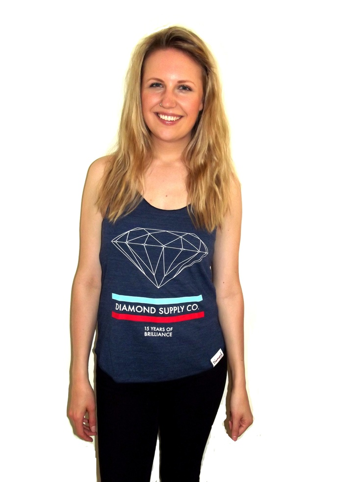 getbusy - Diamond Supply Womens '15 Years of Brilliance' Tank - http://www.getbusystore.com/collections/diamond/products/diamond-supply-co-womens-15-years-of-brilliance-tank-vest-navy