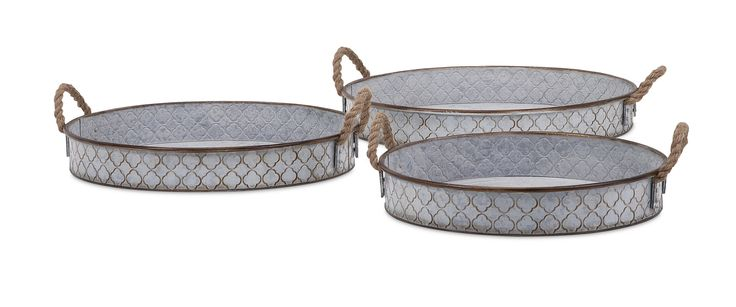 Classy Bretton Metal Trays - Set of 3