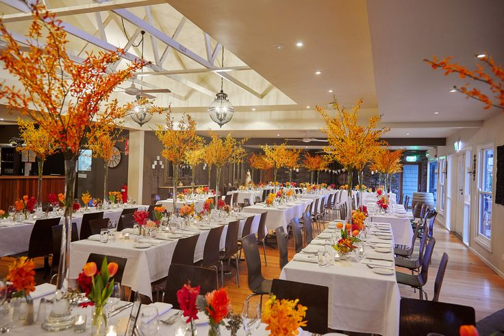 Loving the Autumn colours on the wedding tables. Yarra Valley Winery wedding with a pop of colour!