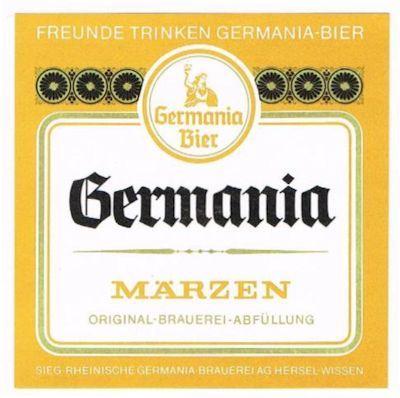 """Germania Märzen (Flaschenetikett) - wurde im März bei stärkerer Hopfung mit höherer Stammwürze und größerem Alkoholgehalt als """"Exportbier"""" zur Erzielung einer längeren Haltbarkeit gebraut."""