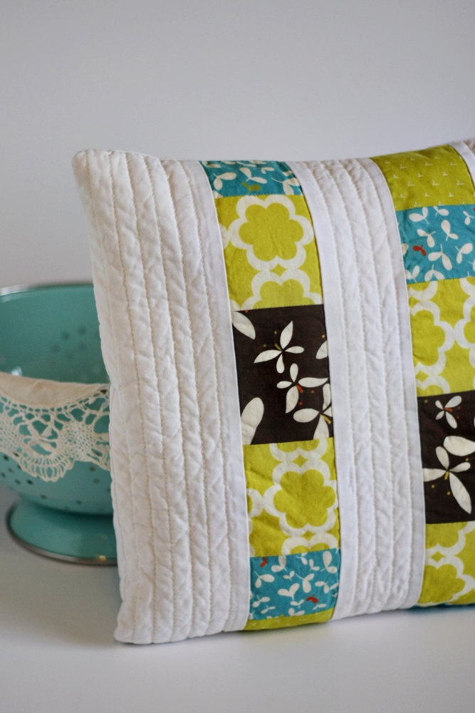 Modern Pillow Cover 14x14 Quilted Patchwork by knittybitties. $28.00 USD, via Etsy. quilt love ...