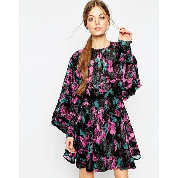 ASOS Floral Jacquard Blouson Sleeve Mini Skater Dress (385 BRL) ❤ liked on Polyvore featuring dresses, multi, skater dress, mini skater dress, white skater dress, sleeve dress and tall dresses