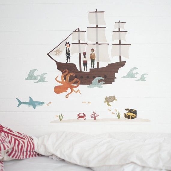 Wall Stickers Pirate Ship (Reusable and removable fabric wall decals, not vinyl) - Pirate Ship