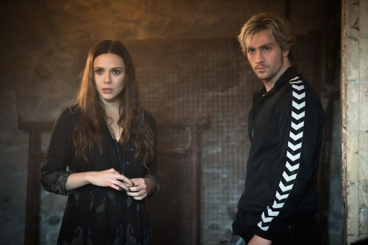 Elizabeth Olsen (Scarlet Witch/Wanda Maximoff) and Aaron Taylor-Johnson (Quicksilver/Pietro Maximoff) in an exclusive first-look image from Avengers: Age of Ultron.
