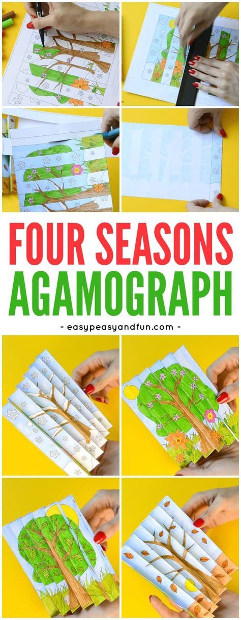 Printable Template Four Seasons Agamograph Paper Craft for Kids