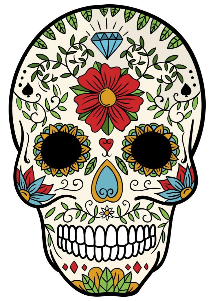 Sugar Skulls Mindfulness Coloring in 2020 | Skull art, Day ...
