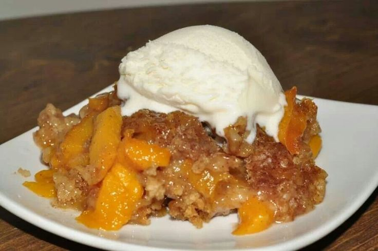 SLOW COOKER PEACH COBBLER  INGREDIENTS: 3/4 cup uncooked old fashioned oats 2/3 cup brown sugar 3/4 cup granulated sugar 1/2 cup biscuit baking mix (like bisquick) 3/4 tsp ground cinnamon 5 fresh peaches, peeled and sliced  INSTRUCTIONS: Grease inside of 3=4 quart crock pot. (Grease well so it doesn't stick and burn) In a bowl, combine sugars, baking mix, oats and cinnamon.  Stir in peaches and spoon intoslow cooker. Cover and cook on low for 4 hours. Serve warm and top with vanilla ice…