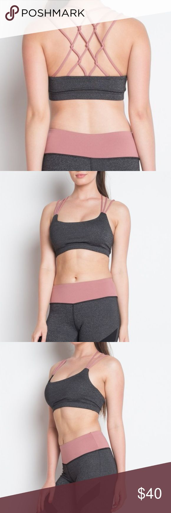 Strappy Pink & Grey Sports Bra Item info // + great strappy sports bra + removable padded cups + matching leggings available in another listing + measurements available upon request + new, boutique item, with tags  Closet info // + bundles 10% off + offers welcome Style Cash or Credit Intimates & Sleepwear Bras