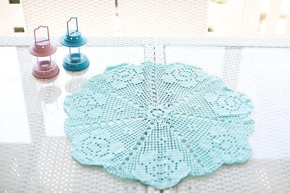 Crochet Centerpiece Crochet Doily Crochet Table by NeedleandLine