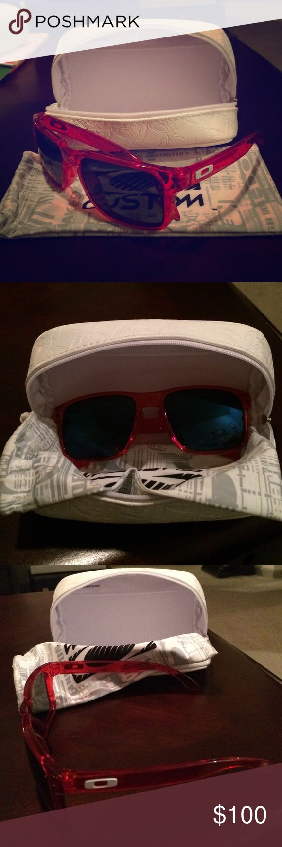 Oakley Custom Holbrook Polarized Sunglasses Oakley Custom Holbrook Polarized Sunglasses. Crystal red frames, polarized ice lenses. Only worn a couple times. A couple small scuffs on lenses. Oakley Accessories Sunglasses