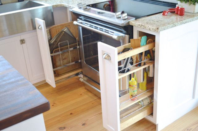 Utilize those small cabinets around the stove with pull-out organizers. Easy to install in existing or new cabinetry.