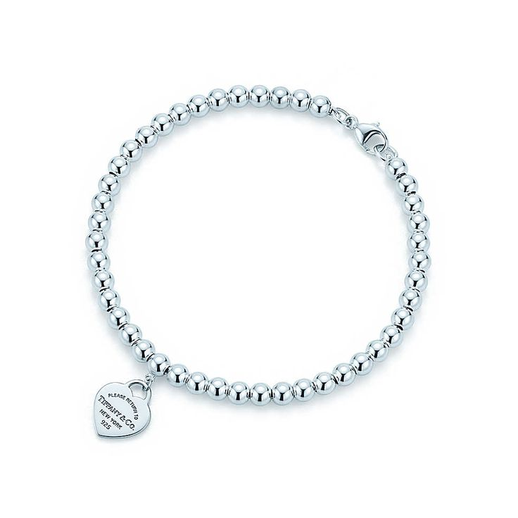 Return to Tiffany® mini heart tag in sterling silver on a bead bracelet. | Tiffany & Co.