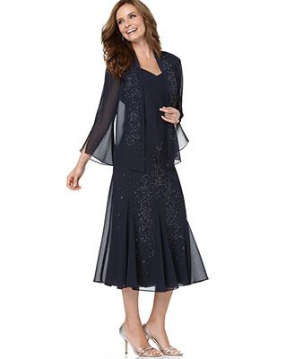 I really like this!  It comes in navy or black.    R&M Richards Dress and Jacket, Sleeveless Beaded V-Neck