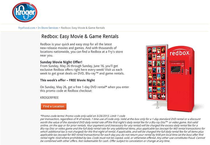 Pinned May 26th Free Redbox DVD rental today at Kroger