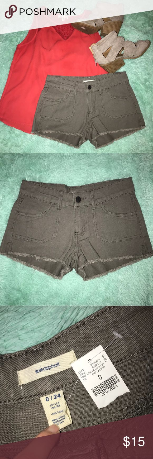 NWT mid rise shorts Blue asphalt size 8. Little fraying at the bottom. From wet seal. A gray/brown color Blue Asphalt Shorts