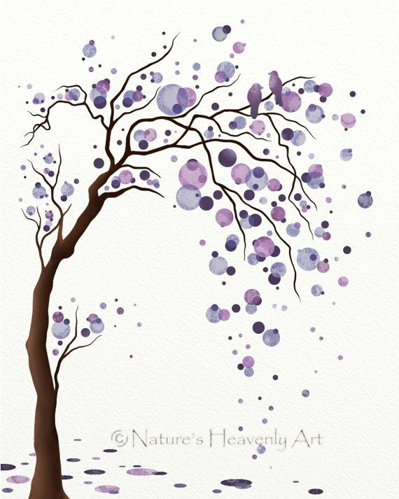 Watercolor Tree Art - I love the two little birds in the top corner. Cool family tree tattoo idea except make dots shades of green,