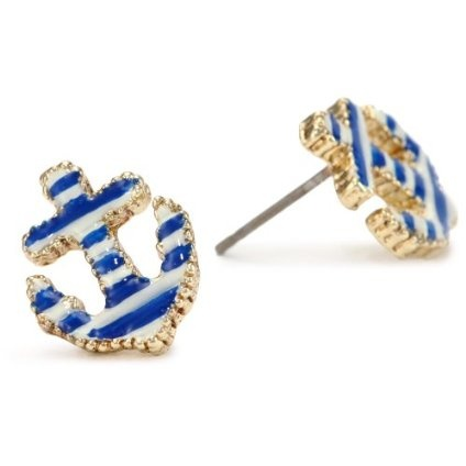 Betsey Johnson Striped Anchor Stud EarringsBetseyjohnson, Anchors Earrings, Stripes Anchors, Stud Earrings, Studs Earrings, Jewelry, Betsey Johnson, Anchors Studs, Johnson Stripes