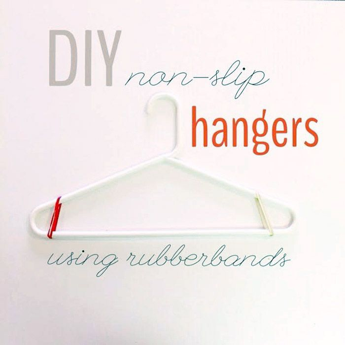 DIY non-slip hangers using rubber bands // how to stop your clothes from slipping off your hangers!