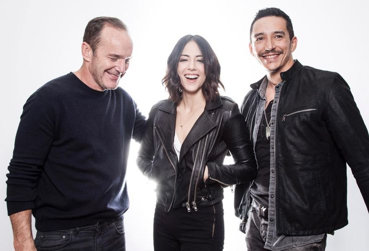 Agents of S.H.I.E.L.D. stars Clark Gregg, Chloe Bennet and Gabriel Luna (l. to r.) get together Saturday at the Fairfield Inn & Suites New York Midtown Manhattan hotel. They're in New York for Comic Con.