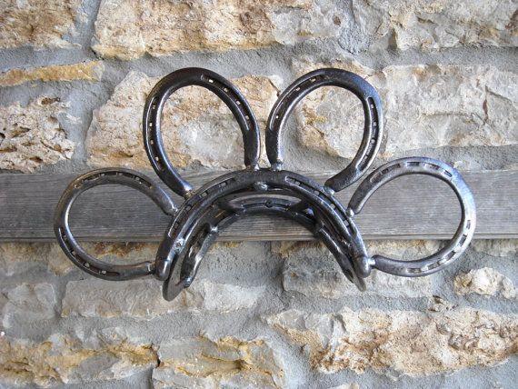Garden Hose Holder Made from Horseshoes