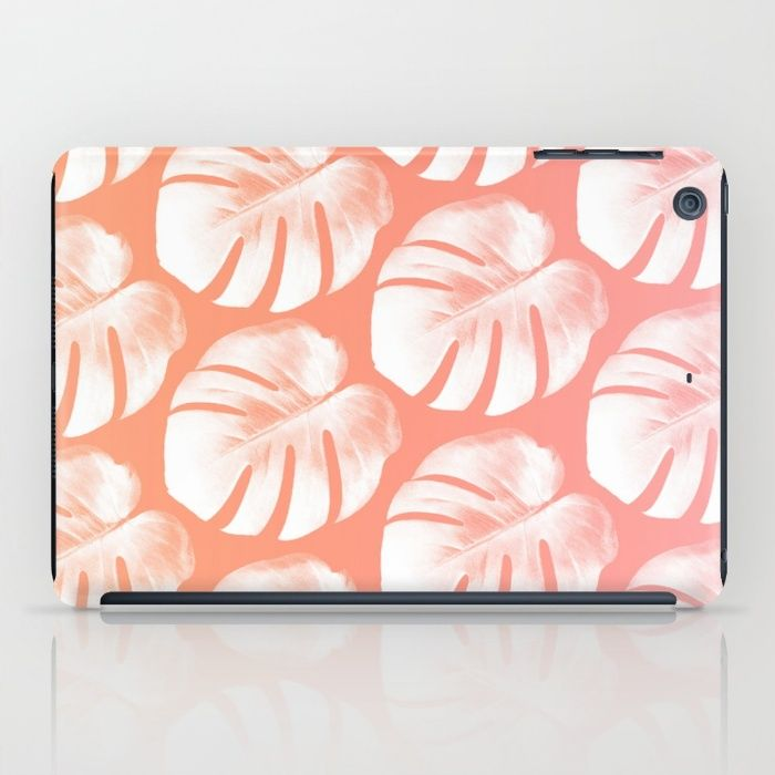 TROPIC - ROSEQUARTZ - PEACH iPad Case #ipadcase #ipad #case #monstera #trend #monsteratrend #botanictrend #leaf #monsteradeliciosa #accessory #decor #trending #rosequartz #peach