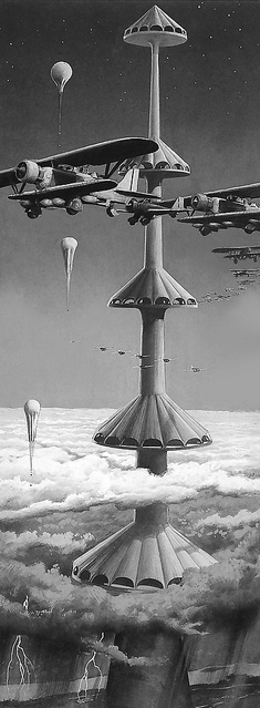 1 mile in the air. Launch planes direct into the sky.  I like that the tower is very futuristic, but the aircraft are biplanes.