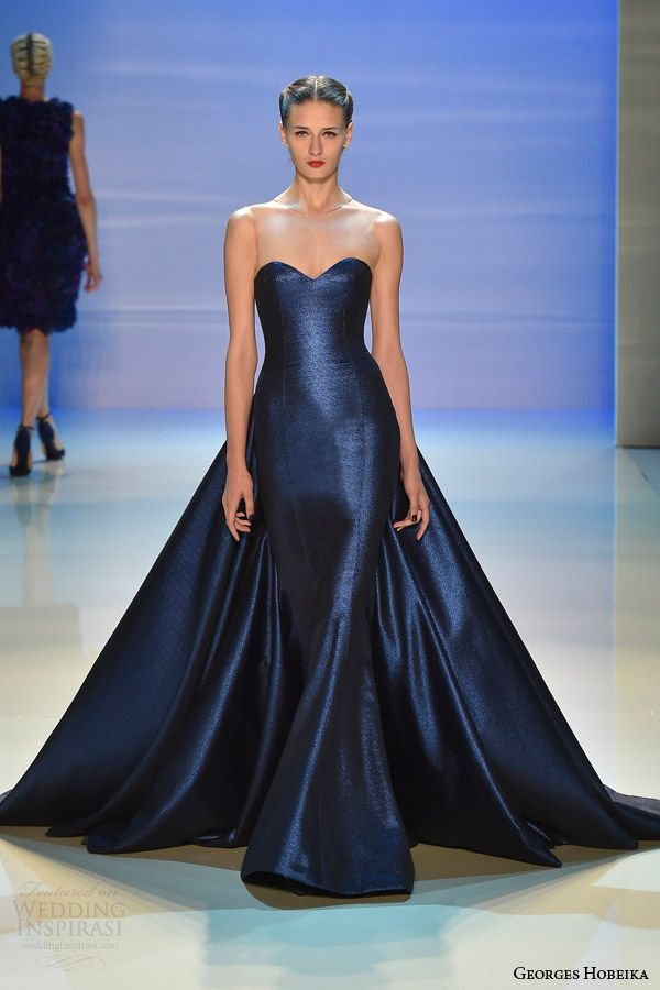 georges hobeika couture fall 2014 2015 blue wedding dress illusion neckline