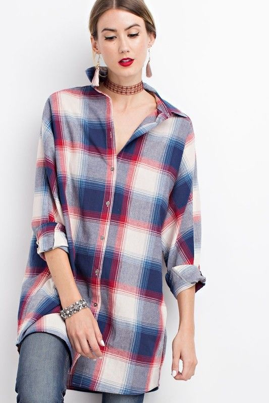 EASEL oversize plaid button up flannel tunic long sleeve top 100% cotton  S M L #easel #Tunic #Casual