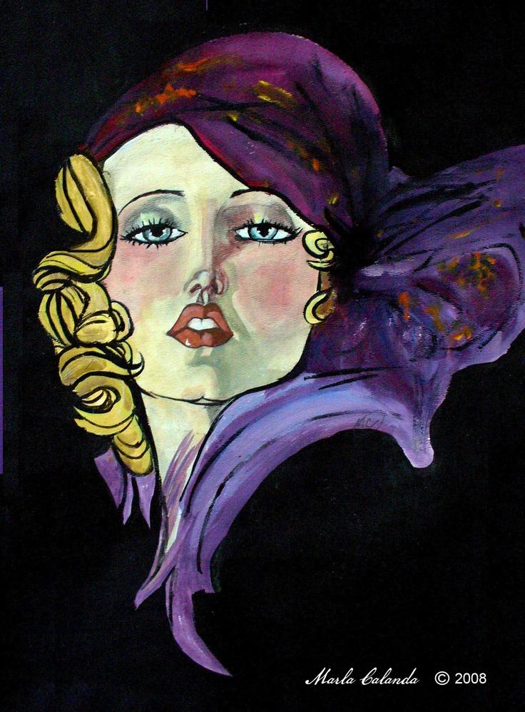 Dream Girl.  Artwork by Marla Calandra, graphite and acrylic