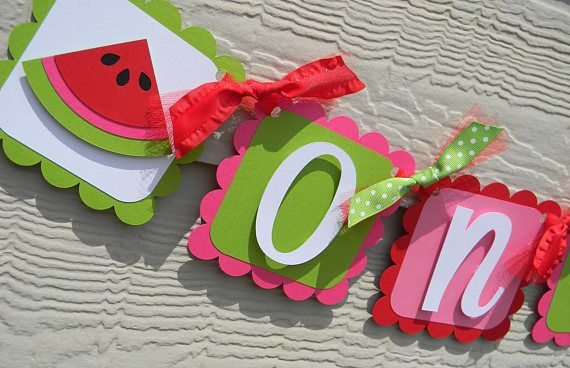 Watermelon Birthday Party High Chair Mini Banner in Red Pink