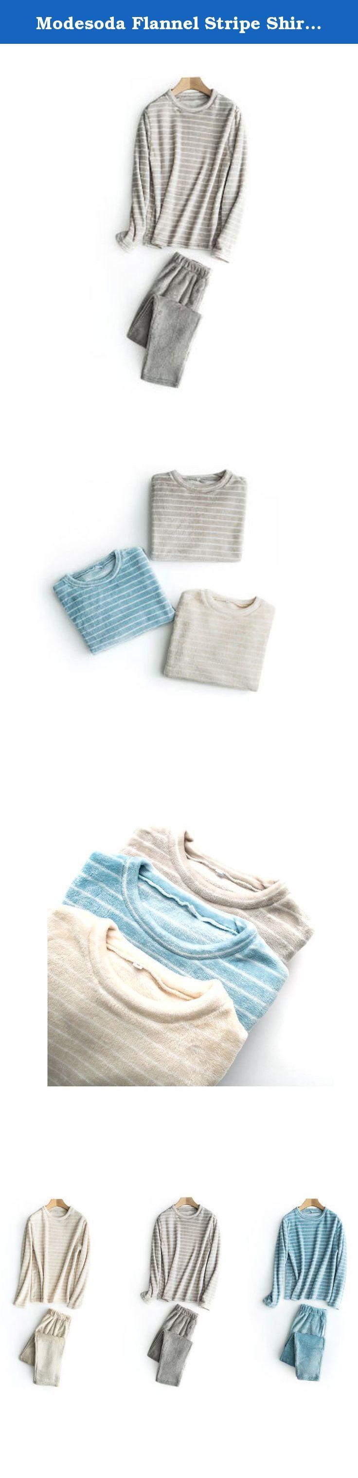 "Modesoda Flannel Stripe Shirt Thermal Pajamas Set Nightdress. Size Chart for Women: S: bust 37"",waist 26-38"",hip 43"",top length 25"",pants length 38"" M: bust 39"",waist 28-39"",hip 44"",top length 26"",pants length 39"" Size Chart for Men: S: bust 37"",waist 26-38"",hip 43"",top length 25"",pants length 38"" M: bust 43"",waist 29-39"",hip 48"",top length 27"",pants length 40""."