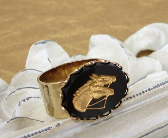 Horse Ring Equestrian Equine Jewelry Black by dfoxjewelrydesigns
