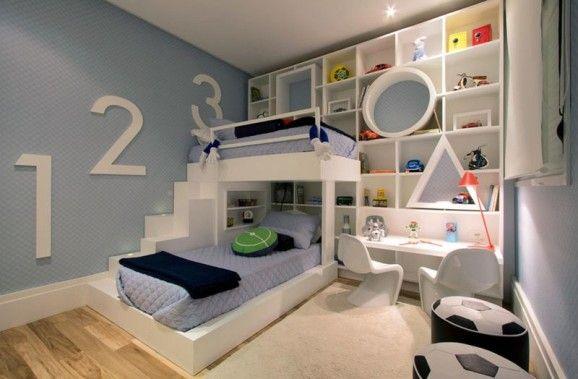 como  decorar quarto  infantil azul meninos beliche