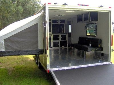 8.5 x 20 enclosed aluminum toy hauler trailer loaded