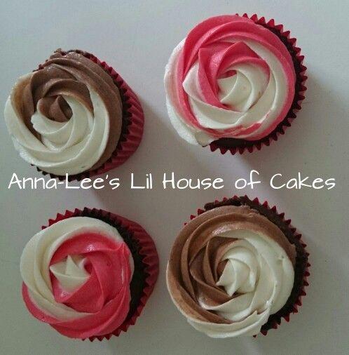 Chocolate vanilla and strawberry vanilla buttercream birthday cupcakes
