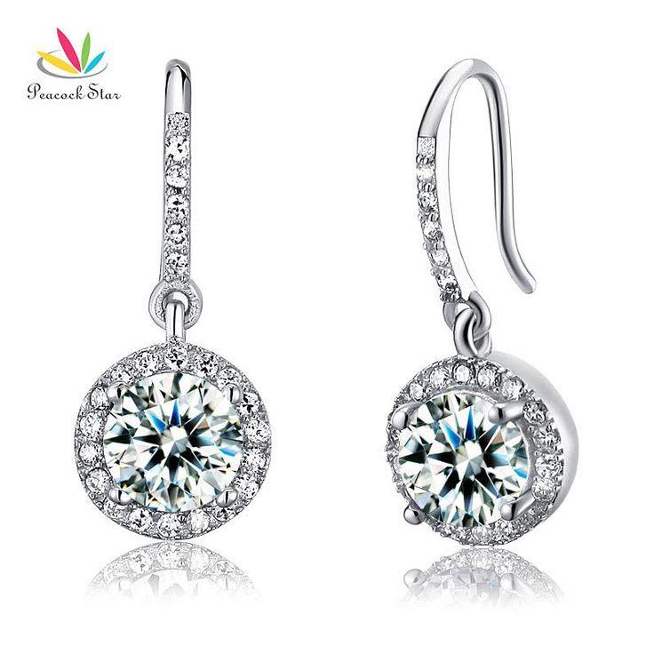 Pauw Star Solid 925 Sterling Zilver Bridal Fashion Bruidsmeisje Oorbellen Dangle Drop Gemaakt Diamanten Sieraden CFE8026