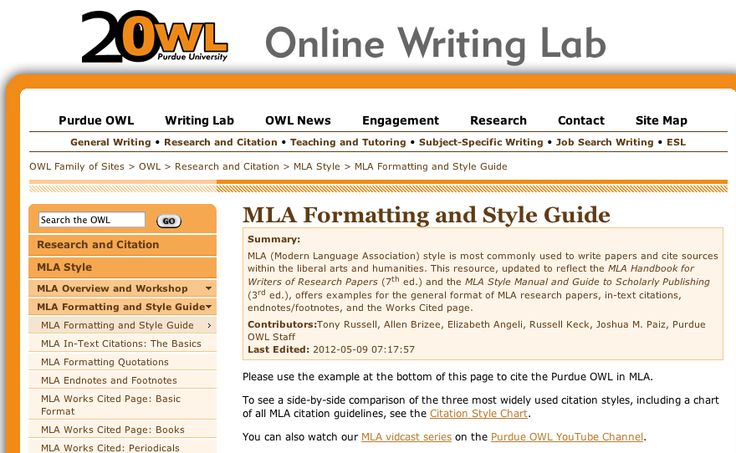 purdue owl mla research paper cover page