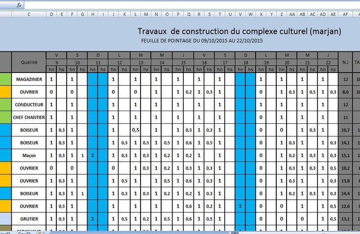 Häufig Modèle de feuille de pointage chantier BTP en excel | cours de  WY78