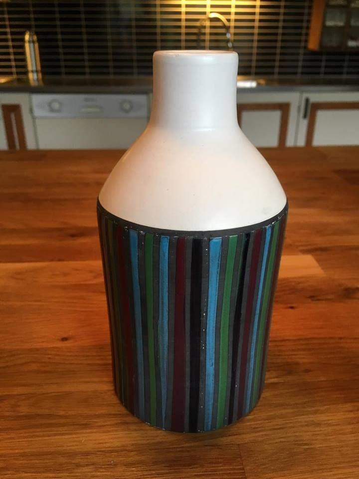 Very Early Lovely Bitossi Italy Pottery Vase Aldo Londi Pottery Ceramic Bande a cera  Vertical Stripes & Wax Retro Fine Art 1960s