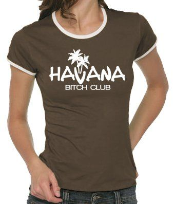 Touchlines Girlie Ringer T-Shirt Havana - Bitch Club, brown, S, B9050