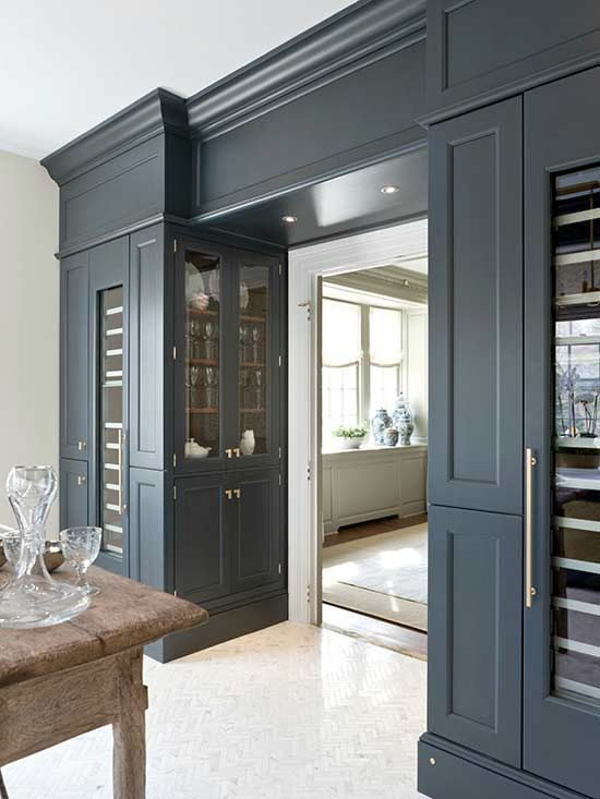 Color is Vintage Navy from wood Mode Cabinetry.