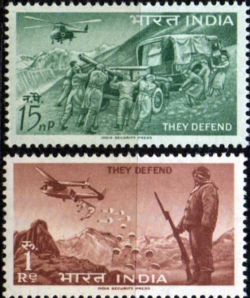 India 1963 Defence Campaign Set Fine Mint SG 468 9 Scott 374 5 Other British Commonwealth Empire and Colonial stamps Here