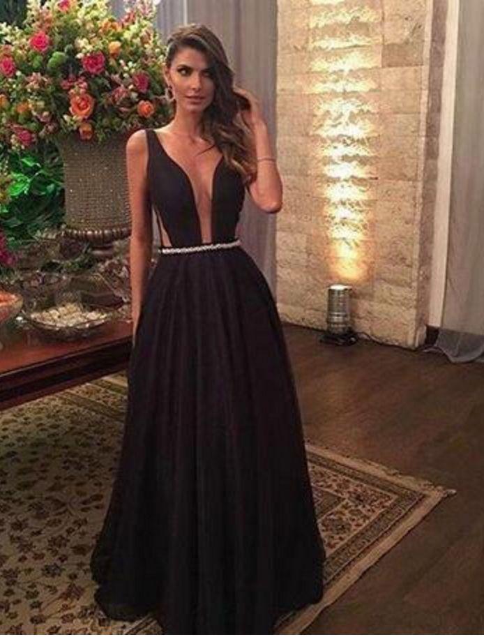 Cheap prom dress ,Sexy Black Prom Dresses Plunging V Neck