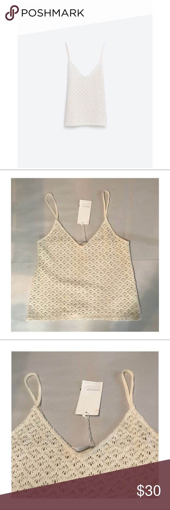 NWT ZARA S/S CROCHET STRAPPY TANK TOP T-SHIRT SZ M This is a brand new Zara top from the Spring/Summer  Trafaluc Collection.   Details include, a crochet look, v neck front; spaghetti straps, a thick stretchy fabric.   Offers welcome!  #zara #zaratrf #zaratrafaluc #trf #trafaluc #crochet #crochettop #zaracrochet #zaracrochettop #tanktop #spaghettistrap #spring #summer #cream #ivory Zara Tops Tank Tops